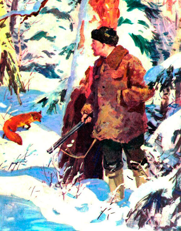 From a Soviet children's book, illustration by D. Khaikin of Lenin chasing a fox.